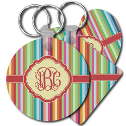 Retro Vertical Stripes Plastic Keychains (Personalized)