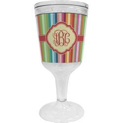 Retro Vertical Stripes Wine Tumbler - 11 oz Plastic (Personalized)