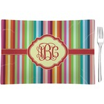 Retro Vertical Stripes Glass Rectangular Appetizer / Dessert Plate - Single or Set (Personalized)