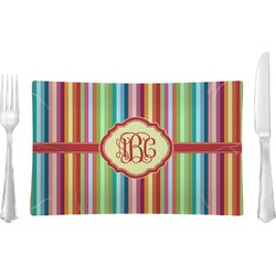 Retro Vertical Stripes Glass Rectangular Lunch / Dinner Plate - Single or Set (Personalized)