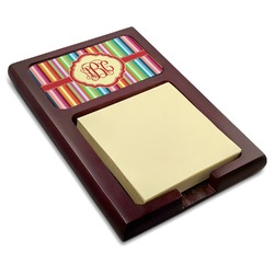Retro Vertical Stripes Red Mahogany Sticky Note Holder (Personalized)