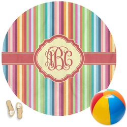Retro Vertical Stripes Round Beach Towel (Personalized)