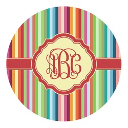 Retro Vertical Stripes Round Decal - Custom Size (Personalized)