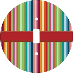Retro Vertical Stripes Round Light Switch Cover (Personalized)