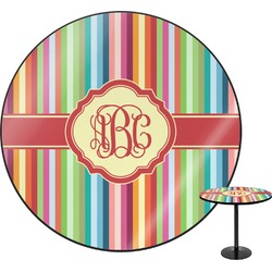 Retro Vertical Stripes Round Table (Personalized)