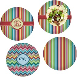 Retro Vertical Stripes Set of 4 Lunch / Dinner Plates (Glass) (Personalized)