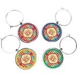 Retro Vertical Stripes Wine Charms (Set of 4) (Personalized)