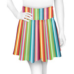 Retro Vertical Stripes Skater Skirt (Personalized)