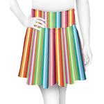 Retro Vertical Stripes Skater Skirt (Personalized)