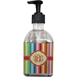 Retro Vertical Stripes Soap/Lotion Dispenser (Glass) (Personalized)