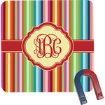 Retro Vertical Stripes Square Fridge Magnet (Personalized)