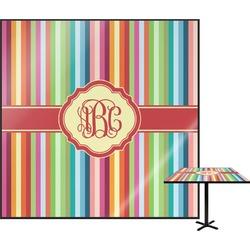 Retro Vertical Stripes Square Table Top (Personalized)