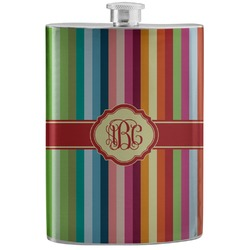 Retro Vertical Stripes Stainless Steel Flask (Personalized)