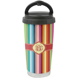 Retro Vertical Stripes Stainless Steel Travel Mug (Personalized)