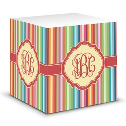 Retro Vertical Stripes Sticky Note Cube (Personalized)