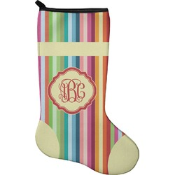 Retro Vertical Stripes Christmas Stocking - Single-Sided - Neoprene (Personalized)