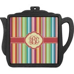 Retro Vertical Stripes Teapot Trivet (Personalized)