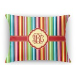 Retro Vertical Stripes Rectangular Throw Pillow Case (Personalized)