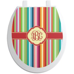 Retro Vertical Stripes Toilet Seat Decal (Personalized)