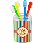 Retro Vertical Stripes Toothbrush Holder (Personalized)