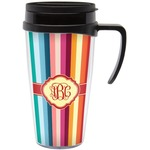 Retro Vertical Stripes Travel Mug with Handle (Personalized)