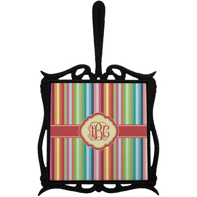 Retro Vertical Stripes Trivet with Handle (Personalized)