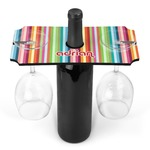 Retro Vertical Stripes Wine Bottle & Glass Holder (Personalized)