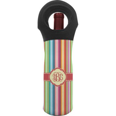 Retro Vertical Stripes Wine Tote Bag (Personalized)