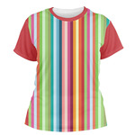 Retro Vertical Stripes Women's Crew T-Shirt (Personalized)