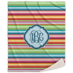 Retro Horizontal Stripes Sherpa Throw Blanket (Personalized)