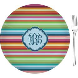"Retro Horizontal Stripes 8"" Glass Appetizer / Dessert Plates - Single or Set (Personalized)"