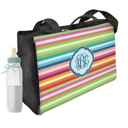 Retro Horizontal Stripes Diaper Bag (Personalized)