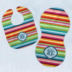 Retro Horizontal Stripes Baby Bib & Burp Set w/ Monogram
