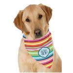 Retro Horizontal Stripes Dog Bandana Scarf w/ Monogram