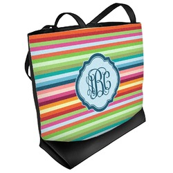 Retro Horizontal Stripes Beach Tote Bag (Personalized)