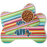 Retro Horizontal Stripes Bone Shaped Dog Food Mat (Personalized)