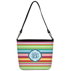 Retro Horizontal Stripes Bucket Bag w/ Genuine Leather Trim (Personalized)