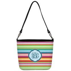 Retro Horizontal Stripes Bucket Bag w/ Genuine Leather Trim (Personalized)