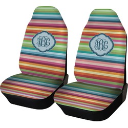 Retro Horizontal Stripes Car Seat Covers (Set of Two) (Personalized)