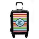 Retro Horizontal Stripes Carry On Hard Shell Suitcase (Personalized)