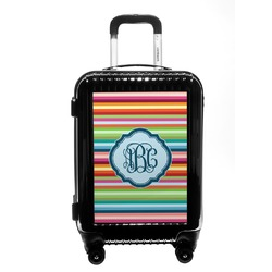 Retro Horizontal Stripes Carry On Hard Shell Suitcase (Personalized)