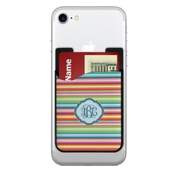 Retro Horizontal Stripes 2-in-1 Cell Phone Credit Card Holder & Screen Cleaner (Personalized)