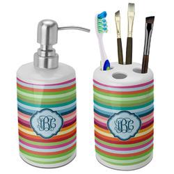 Retro Horizontal Stripes Ceramic Bathroom Accessories Set (Personalized)