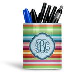 Retro Horizontal Stripes Ceramic Pen Holder