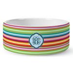Retro Horizontal Stripes Ceramic Dog Bowl (Personalized)