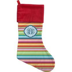 Retro Horizontal Stripes Christmas Stocking (Personalized)