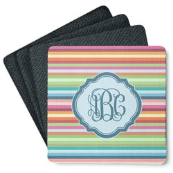 Retro Horizontal Stripes 4 Square Coasters - Rubber Backed (Personalized)