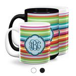Retro Horizontal Stripes Coffee Mugs (Personalized)