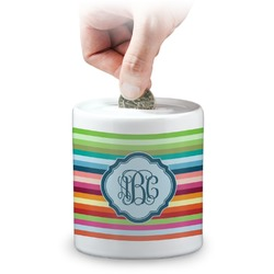 Retro Horizontal Stripes Coin Bank (Personalized)