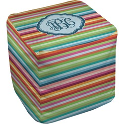 Retro Horizontal Stripes Cube Pouf Ottoman (Personalized)